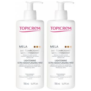Topicrem Mela Lait Eclaircissant Ultra-hydratant lot 2 Flacons x 500ml